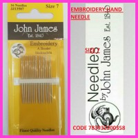 JOHN JAMES EMBROIDERY HAND NEEDLE SIZE 8