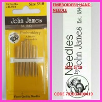 JOHN JAMES EMBROIDERY HAND NEEDLE SIZE 5/10