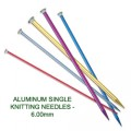 ALUMINUM SINGLE KNITTING NEEDLES - 6.00mm