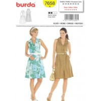GREY / BLUE / WHITE  - BURDA PATTERN