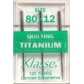 XLASSE QUILTING TITANIUM MACHINE NEEDLES SIZE 80 12